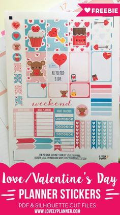valentinesday bullet journal Free set of printable planner stickers for Valentines Day and all your romantic / love events ! For classic Happy Planner and others. Pdf and silhouette cut files included. Free Planner, Happy Planner, Planner Ideas, Kirigami, Printable Planner Stickers, Free Printables, Calendar Stickers, Day Planners, Love Valentines