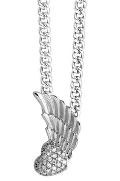 Sterling Silver & Jewels Winged Heart Pendant Necklace.