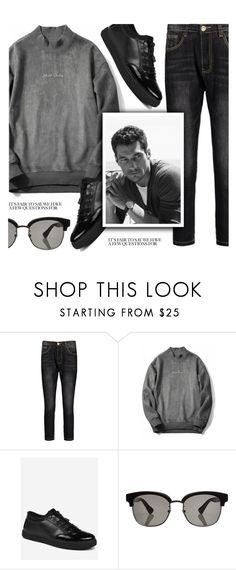 """""""Dark"""" by zaful-men ❤ liked on Polyvore featuring Gucci, men's fashion, menswear, black and gray"""