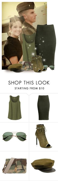 """""""Military couple"""" by priscilla12 ❤ liked on Polyvore featuring Etiquette, Uniqlo, H&M, Lauren Conrad, Yves Saint Laurent and military"""