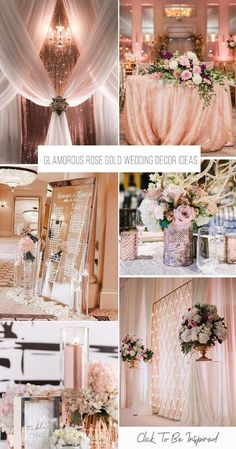 A gorgeous explosion of glitzy and glamorous rose gold! Take a look at the rose … A gorgeous explosion of glitzy and glamorous rose gold! Take a look at the rose gold wedding decor ideas in our gallery below and get inspired! Quince Decorations, Gold Wedding Decorations, Gold Wedding Theme, Rose Wedding, Wedding Themes, Wedding Colors, Rose Gold Weddings, Wedding Photos, Wedding Ideas