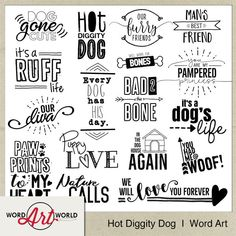 Digital Word Art Sets Overlays & Printable Art by WordArtWorld Dog Words, Digital Word, Digital Scrapbooking Layouts, Dog Scrapbook Layouts, Scrapbook Titles, Diy Scrapbook, Word Design, Album, Word Art