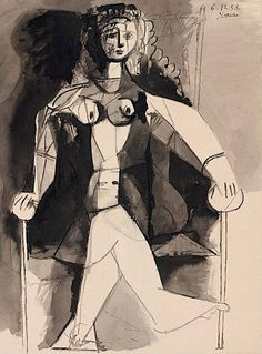 colin-vian:   Pablo Picasso - Femme assise, 6.12.53. Brush and India ink and gray wash on paper