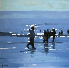 Beach Scenes by John Morris Irish Artist    I'm impressed by the atmosphere Morris creates with such simplicity of space, color, and line.