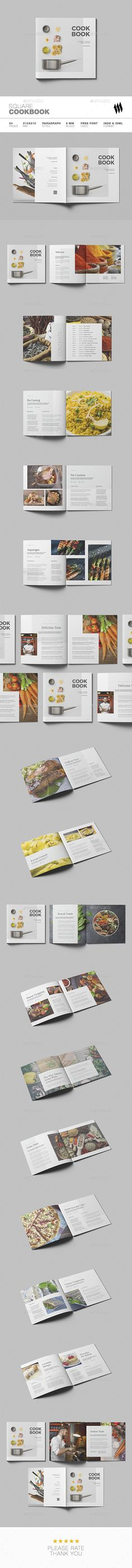 Square #Cookbook - #Brochures Print Templates Download here: https://graphicriver.net/item/square-cookbook/20375671?ref=alena994