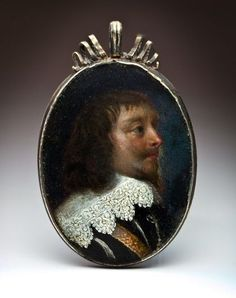 17th Century Portrait Miniature Oil on Copper Silver Frame