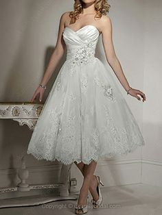 Ball Gown Sweetheart Lace Satin Tea-length Beading Wedding Dresses (millies bridal)
