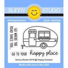 This darling retro trailer stamp is adorable all on it's own or paired with the car from our City Streets set. Make sure to check out our matching Critter Campout Stamps and Happy Camper Dies for additional design possibilities. Made in USA.