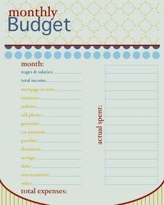 Budget Organization Free Printable