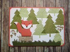 Geburtstagskarte mit Foxy Friends in Calypso Olivgrün Farngrün, Wildleder und Espresso