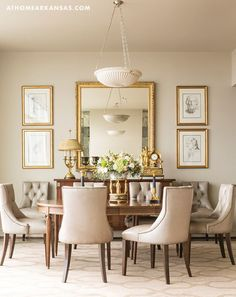 High Rise High Style At Home in Arkansas April 2016 Dining Room Condominium Antiques Neutral Palette - March 09 2019 at Dining Room Mirror Wall, Dining Room Walls, Dining Room Design, Dining Chairs, Living Room, Room Chairs, Dinning Room Buffet, Formal Dinning Room, Classic Dining Room