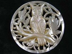 Beautifully Carved MOP Owl Button
