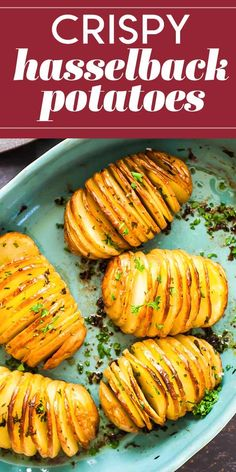 Apr 2020 - Vertical slicing and an extra-long roast in the oven make these potatoes both beautiful and delicious. Look at all those crispy edges! Hasselback Potatoes, Parmesan Potatoes, Oven Baked Sliced Potatoes, Crispy Potatoes In Oven, Air Fryer Baked Potato, Rosemary Potatoes, Potato Sides, Potato Side Dishes, Veggies