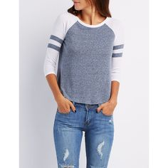 Charlotte Russe Raglan Varsity Stripe Tee ($16) ❤ liked on Polyvore featuring tops, t-shirts, blue combo, raglan sleeve t shirts, crew t shirts, raglan t shirt, 3/4 sleeve t shirts and crew neck tee