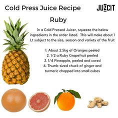 Do you want to feel amazing? Make this juice and drink a glass each morning with breakfast for the next few days. This juice is one of my fav's and is totally packed with all the right stuff to help ward off colds and sniffles. Cold Pressed Juice, The Right Stuff, Orange Peel, Juices, Turmeric, Grapefruit, Pineapple, Nutrition, Drink