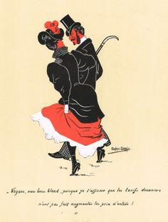 """""""- Voyons, mon beau blond, puisque je t'affirme que les tarifs douaniers n'ont pas fait augmenter les prix d'entrée !"""" - Silhouettes Fantaisistes par Maurice MARAIS - 4ème série - planche 39 - MAS Estampes Anciennes - MAS Antique Prints"""
