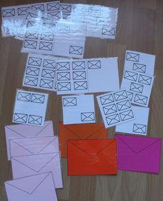 Brieven telspel. Leg het juiste aantal brieven bij de telkaarten neer.