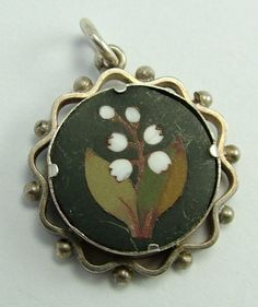 Victorian Silver & Pietra Dura Lily of The Valley Charm