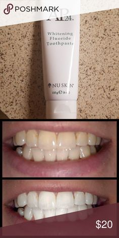 NuSkin AP 24 Whitening Toothpaste Lightens teeth without peroixde while preventing cavities and plaque formation. This gentle mint flavor freshens breath and provodes a clean brushed feeling lasting all day! Nu Skin Other Ap 24 Whitening Toothpaste, Organic Toothpaste, Whitening Fluoride Toothpaste, Best Teeth Whitening, Nu Skin, White Teeth Tips, Cavities, Beauty Secrets, Mint