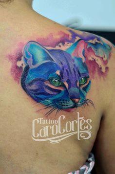 WATERCOLOR CAT - GATO ACUARELADO /Caro cortes Colombian tattoo artist. carocortes.tumblr.com  www.carocortes.com/ #cat #watercolor #acuarela #gato #tattoo #carocortes