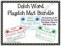 This bundle contains my pre–primer, primer and first grade Dolch playdoh mat sets, 133 words total!
