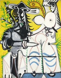 """""""Man and Woman"""" by Pablo Picasso (Spain, active France, 1881-1973) France, 1969 Paintings Oil on canvas 63 3/4 x 51 3/16 in. (162 x 130 cm) Frame: 73 × 61 × 3 in. (185.42 × 154.94 × 7.62 cm)"""