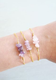 Rustic Gemstone Bar Bracelet by Moon Tide Jewellery. As featured on Beadworthy. This has been made with gemstone chip beads - so beautiful and dainty!