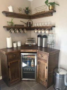 Corner Coffee Station with Floating Shelves Coffee Bar Station, Coffee Station Kitchen, Coffee Bars In Kitchen, Coffee Bar Home, Home Coffee Stations, Coffee Corner, Coffee Bar Ideas, Corner Liquor Cabinet, Coffee Cabinet