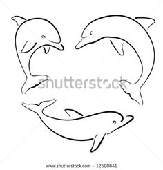 Of Colorful Cute Dolphin Vector Set Various Dolphins Tattoo