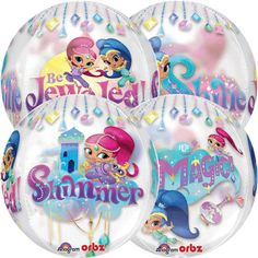 Shimmer and Shine 15 inch Orbz Balloon, great for girls, princess, magical, decoration, birthday parties