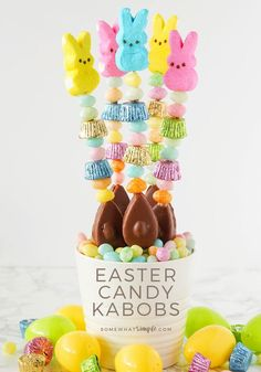 Candy Kabobs are easy Easter treats that look adorably festive in your children\'s Easter baskets! #candykabob #eastertreats #diycandykabob #eastercandykabob