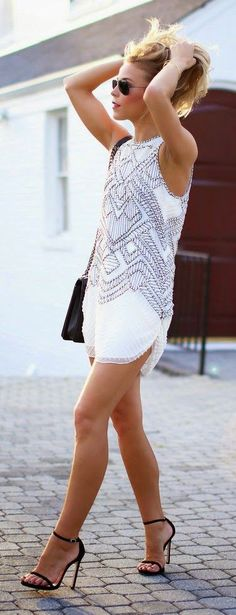 Paris Street Fashion - Summer Street Fashion in Paris - Elle...hitting the road in a little white dress and heels, YASS