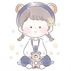 まる@書籍くろかみちゃん発売中!さん (@no2_xo) / Twitter Art Drawings For Kids, Cute Drawings, Cartoon Art Styles, Bts Aesthetic Pictures, Cute Cartoon Wallpapers, Cute Chibi, Gifs, Cute Illustration, Cute Art