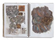As an established artist, writer, online teacher and editor, Maggie Grey is regarded as a pioneer of Textile art. A Level Sketchbook, Sketchbook Layout, Newspaper Drawing, Fabric Journals, Art Journals, Watercolor Journal, Travel Party, Fabric Art, Textile Art