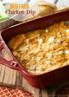 Buffalo Chicken Dip - a tried and true recipe we eat almost every Sunday! the-girl-who-ate-everything.com