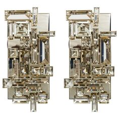 Nickel Plated and Hand Cut Crystal Sconces | See more antique and modern Wall Lights and Sconces at http://www.1stdibs.com/furniture/lighting/sconces-wall-lights