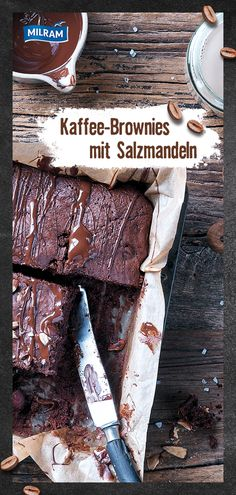 """Irresistible: our juicy coffee brownies with salted almonds! With MILRAM KALDER COFFEE in the variety """"really strong"""" a real stimulant! Yummy Cupcakes, Cupcake Cookies, Mini Cupcakes, Coffee Brownies, Halloween Brownies, Paleo Brownies, Dessert Boxes, Brownie Bar, Gorgeous Cakes"""