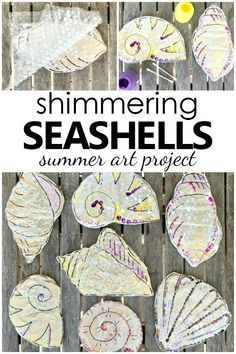 In this Shimmering Shell Craft Project kids will tap into the senses as they create Seashell Art. Great project for summer camps or summer fun at home. Summer Crafts For Kids, Craft Projects For Kids, Summer Activities For Kids, Art For Kids, Summer Fun, School Projects, Learning Activities, Summer Time, Art Projects