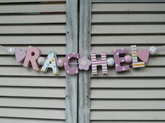 """RACHEL"" WOODEN LETTERS BABY SHOWER NURSERY NAME DECOR PERSONALISED SHABBY CHIC #NostalgieSpiel"