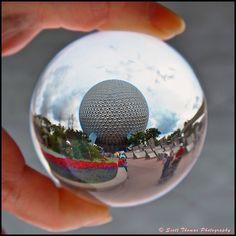 Spaceship Earth as seen through a crystal ball in Epcot, Disney World, Orlando, Florida Walt Disney Parks, Downtown Disney, Disney Vacations, Disney Trips, Disney Love, Disney Magic, Disney Springs, Vintage Disney, Epcot