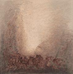 Lysgrotten 50x50 cm. Akryl på tykt lerret m/ blandingsteknikk.   Bildet går i fargene:  Lys beige, gull-beige, sand, grafittgrå, jord, sjokolade, bordeaux.