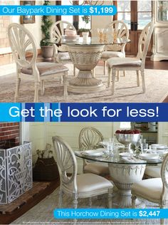 Your eyes aren't tricking you - these are two different dining sets! The Baypark Dining Collection is sold by Gardner-White for over half the price of this similar dining set from Horchow. If you are looking for a beautiful glass pedestal dining set, get it from Gardner-White and save. #LookForLess