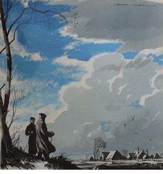 Rowland Hilder - Penny Platts Farm watercolour 60cm x 56cm