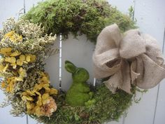 Some BUNNY Loves You    Moss Wreath   Easter Wreath   Spring and Summer Wreath  Hydrangea Wreath  Bunny Wreath  Easter Decor on Etsy, $100.00
