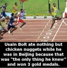 Usain Bolt's diet during the Olympics - WTF fun facts Usain Bolt Diet, Olympic Games, M83 Outro, Montreal, Seoul, Discipline, Wtf Fun Facts, Random Facts, Funny Sports