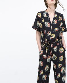 Image 3 of FLORAL JUMPSUIT WITH LAPEL COLLAR from Zara