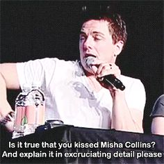 "John Barrowman talking about Misha Collins; ""The truth is yes, and none of your goddamn business."" then gives us a 'tongue action' demo. lol [gifset]"