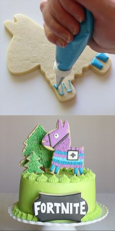 This Fortnite Birthday Cake & Cookies set will wow the Fortnite gamer in your life! All the recipes and directions you need to create this fun set! Pinata Cookies, Cake Cookies, Sugar Cookies, Cupcake Cakes, Iced Cookies, Cookie Cake Birthday, Novelty Birthday Cakes, Cake Decorating Videos, Cookie Decorating