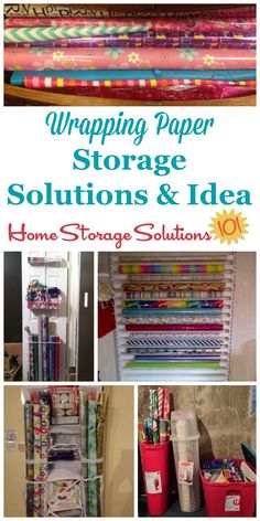 Here are ideas and products you can use for wrapping paper storage to keep your gift wrap ribbons bows bags tape scissors and other accessories organized and easily accessible {on Home Storage Solutions Scrapbook Paper Storage, Wrapping Paper Storage, Gift Wrapping, Wrapping Ideas, Scrapbook Rooms, Scrapbooking, Holiday Storage, Christmas Storage, Gift Wrap Storage