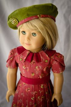 RESERVED  Vintage Fall Dress and Beret for 18 Inch by AnnasGirls
